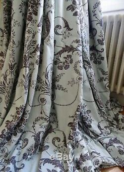 LAURA ASHLEY CURTAINS shabby CHATEAU chic JOSETTE FRENCH TOILE interlined HUGE