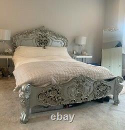 La Rochelle Rococo Louis Silver Antique French Style King Size Bed