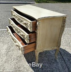 Large 3 Drawer Vintage French Shabby Chic Chest Of Drawers Delivery Available