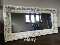 Large Antique White Ivory Shabby Chic French Ornate Overmantle Wall Mirror