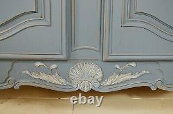 Large Blue Vintage French 4 Door Shabby Chic Sideboard Free UK Delivery