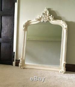 Large French Ivory Cream Shabby Chic Over Mantle Arch Console Scroll Wall Mirror