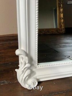 Large French Matt White Shabby Chic Over Mantle Arch Console Scroll Wall Mirror