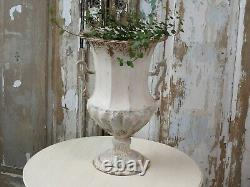 Large French Metal Urn, Rustic Planter with Handles, Antique Cream Shabby Chic