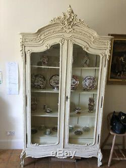 Large French style shabby-chic display cabinet, cream wood