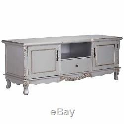 Large Shabby Chic French Country Style Antique Silver TV Entertainment Unit