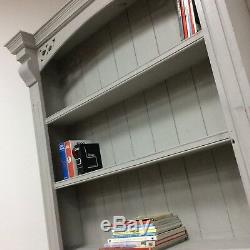 Large, Solid Pine Painted French Grey Shabby Chic Wooden Bookcase Kitchen Lader