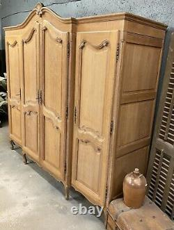 Limed Vintage 4 Door French Oak Wardrobe / Armoire/ Shabby chic style