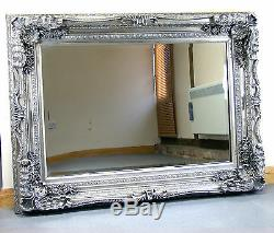 Louis Ornate Shabby Chic Vintage Large French Wall Mirror Silver 35 X 47