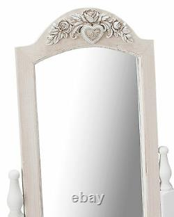 Louis White Painted Cheval Freestanding Mirror French Vintage Shabby Chic