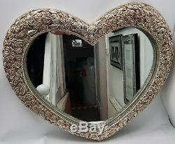 Love Heart Mirror Large Antique French Style Roses Shabby Chic Champagne Gold
