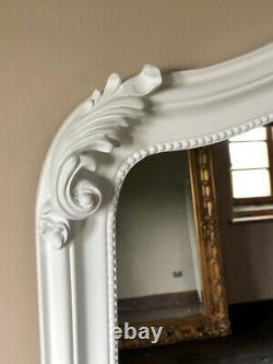 Matt White French Ornate Shabby Chic Fireplace Arch Top Wall Over Mantle Mirror