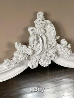Matt White Ornate Shabby Chic French Period Over mantle Scroll Arch Wall Mirror