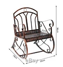 Metal Garden Rocking Chair Shabby Chic Armchair French Vintage Seat Swing Patio