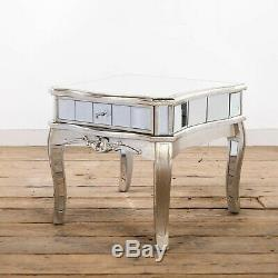 Mirrored Side End Lamp Table 60cm French Antique Silver Glass Drawer Living Room