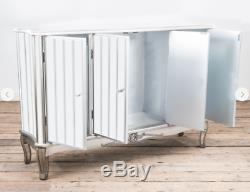 Mirrored Sideboard French Vintage Distressed Shabby Chic Silver Paint Cabinet