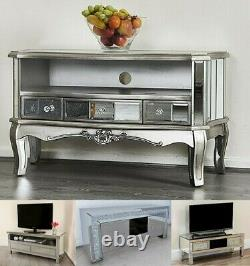 Mirrored TV Stand Media Unit Drawer French Shabby Chic Silver Mirror