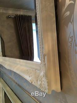 NEW French White Shabby Chic Framed Ornate Overmantle Mirror CHOOSE YOUR SIZE