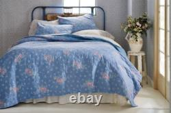 NEW Simply Shabby Chic Blue LILY ROSE CHAMBRAY Full/Queen Quilt French Cottage