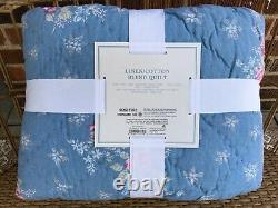 NEW Simply Shabby Chic Blue LILY ROSE CHAMBRAY King Quilt French Cottage