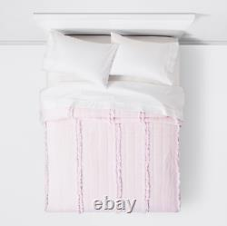 NEW Simply Shabby Chic Pink Raw Edge Cotton Gauze King Quilt French Cottage