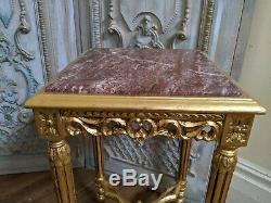 New Marble VINTAGE Gold French Louis Shabby Chic BED SIDE Lamp Sofa Table