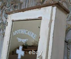 New VINTAGE French CREAM Mirror APOTHECARY Shabby Chic Bath Cabinet Cupboard