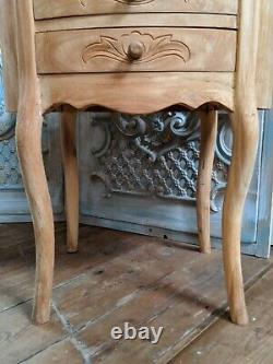 New VINTAGE Oval French Louis Shabby Chic BED SIDE Lamp Sofa Table 3 Drawer Unit