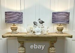 Old Vintage Oak Console Hall Serving Table Hand Painted Cream Rustic French Chic