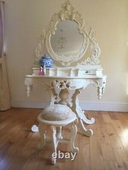 Ornate Cream Shabby Chic French Dressing Table with Vanity Mirror and Stool