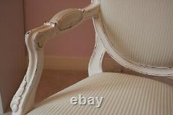 Ornate French Style Louis Chair in a Shabby Chic Cream Finish