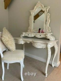 Ornate Ivory Cream Shabby Chic French Dressing Table with Vanity Mirror & Chair