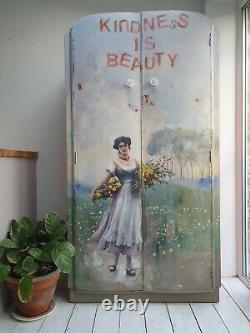 PAINTED WARDROBE cupboard armoire vintage DECOUPAGE shabby chic grey blue French