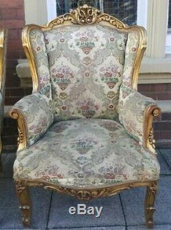 PAIR of Wing Back Antique LOUIS Shabby Chic French Winged Gold Gilt Arm Chairs