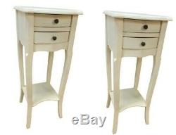 Pair Antique White 2 Drawer Bedside Chest Bedroom French Furniture Shabby Chic