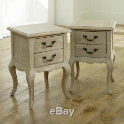 Pair French style bedside tables set shabby chic vintage bedroom furniture home