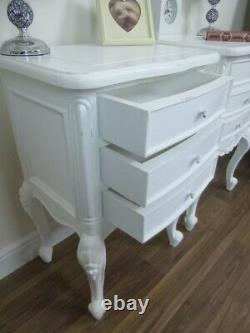 Pair Of Charroux French Style Shabby Chic Three Drawer Bedside Cabinets In White