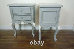 Pair Of French Style Charroux Two Drawer Bedside Cabinets In Mercury Grey