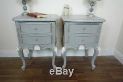 Pair Of French Style Charroux Two Drawer Bedsides Cabinets In Mercury Grey