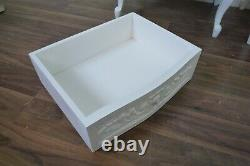 Pair Of French Style Rococo Three Drawer Bedsides Cabinets In White, Shabby Chic