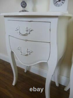 Pair Of Two Drawer Louis Bedside Cabinets In White French Shabby Chic Style