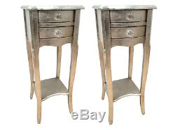 Pair Silver 2 Drawer Bedside Chest Cabinet Bedroom French Furniture Shabby Chic