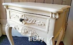 Pair VINTAGE French Louis CREAM Shabby Chic BED SIDE Lamp Tables Drawer Unit