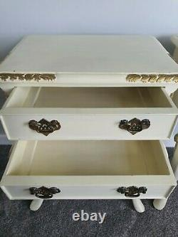 Pair of Cream and Gold, French Style, Shabby Chic, 2 Drawer Bedside Tables