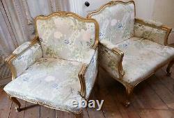 Pair of Vintage FRENCH Louis Shabby Chic Cream GOLD Gilt Throne Carved Armchairs