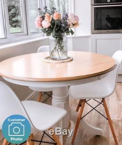 Pedestal Dining Table Shabby Chic Furniture Round White Oak French Kitchen Room