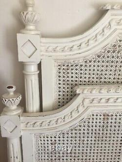 Pretty French Style Double Bed Ivory Wood Rattan Carved Chateau Shabby Chic