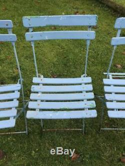 Retro Vintage Shabby Chic French Folding Cafe Bistro Garden Patio Table & Chairs