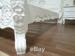 Rococo King Size Bed In White Handmade & Hand Carved Shabby Chic Bed