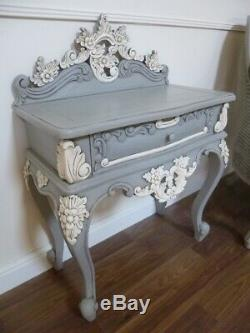 Rococo Small Chest Of Drawers In Mercury Grey French Shabby Chic Side Table
